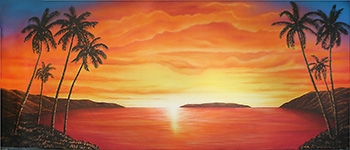 Grosh Digital Backdrop Projection of Tropical Sunset is used in Productions of South Pacific and Mamma Mia