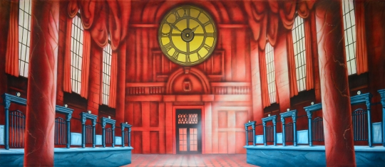An old London Style Bank Interior Backdrop used in Mary Poppins plays