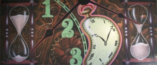 Grosh Digital Projection Clock Montage is used in the play Alice in Wonderland