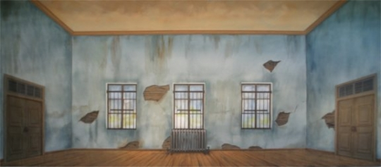 Orphanage backdrop used in the production of Annie