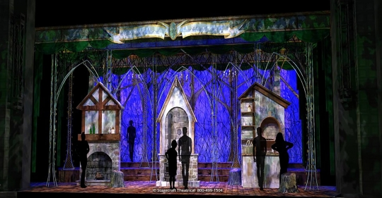 Into the Woods set rental - Act One Opening with houses - Stagecraft Theatrical  - 800-499-1504