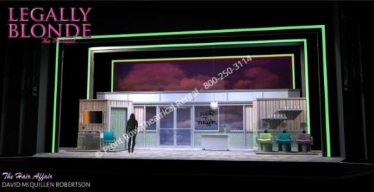 Legally Blonde professional set rental - Hair Affair scenery