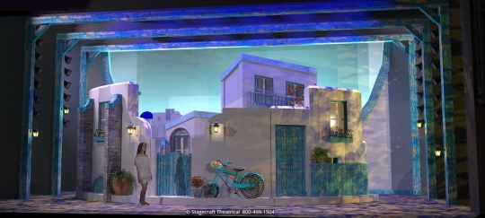 Mamma Mia Set Rental - Opening and exterior- Stagecraft Theatrical - 800-499-1504