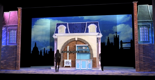 Mary Poppins scenery rental kitchen- Stagecraft Theatrical - 800-499-1504