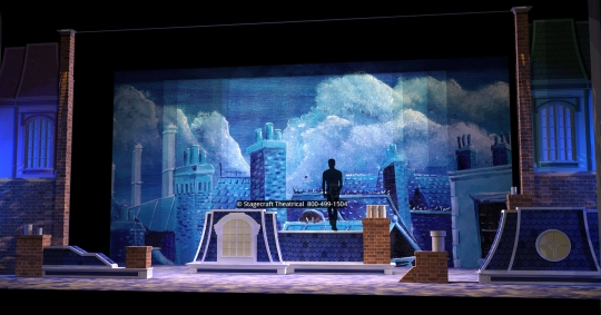 Mary Poppins scenery rental rooftops- Stagecraft Theatrical - 800-499-1504