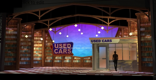 Matilda Set Rental - Car Dealership picture - Front Row Theatrical Rental - 800-250-3114