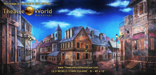 Old World Town Square B Scenic Backdrop