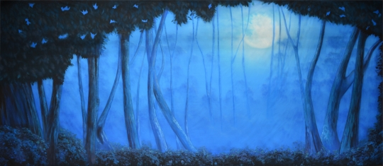 Blue Night Forest backdrop by Grosh Backdrops and Drapery is used in Addams Family, Into the Woods, Beauty and the Beast, Peter Pan,