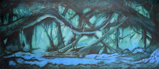 Dark forest backdrop by Grosh Backdrops and Drapery is used in shows like Beauty and the Beast, Brigadoon, Into the Woods, Peter Pan