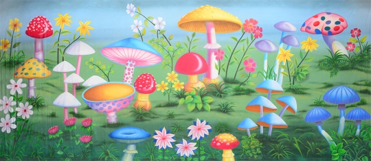 Garden of Giant Mushroom backdrop for Alice in Wonderland plays