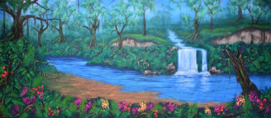 Calming Jungle Oasis Backdrop is used in the production of of Lion King