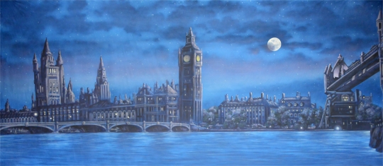 A foggy night on this London Skyline backdrop used in the production of Mary Poppins