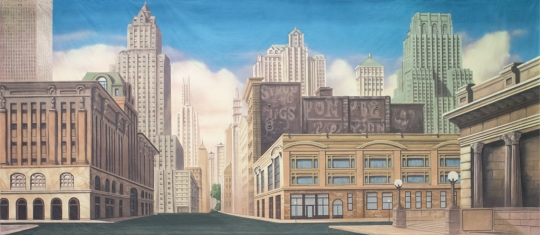 New York Street backdrop used in production of Madagascar, Newsies and Annie
