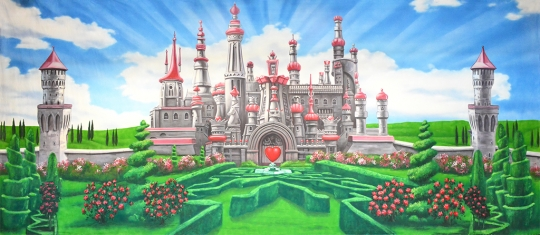 Adorable Queen of Hearts Castle backdrop used in productions of Alice in Wonderland