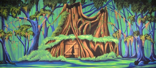 Shrek house backdrop used in the productions of Shrek