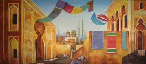 Colorful Arabian Marketplace backdrop used in the play Aladdin